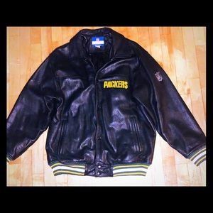 🔥Authentic black leather NFL Packers zipup jacket